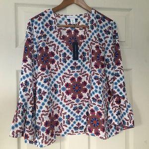 Adrienne Vittadini bell sleeve floral blouse 👚 L